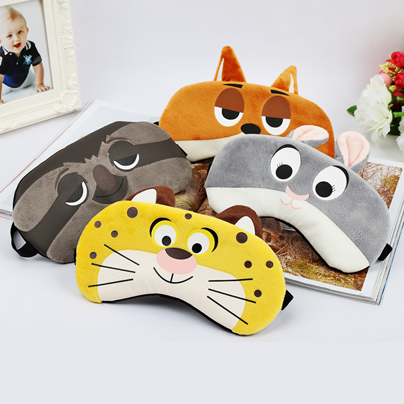 1PCS Bunny/Tiger/Fox/Sloth Sleep Mask Rest Travel Relax Sleeping Aid Blindfold Ice Cover Eye Patch Sleeping Mask Case