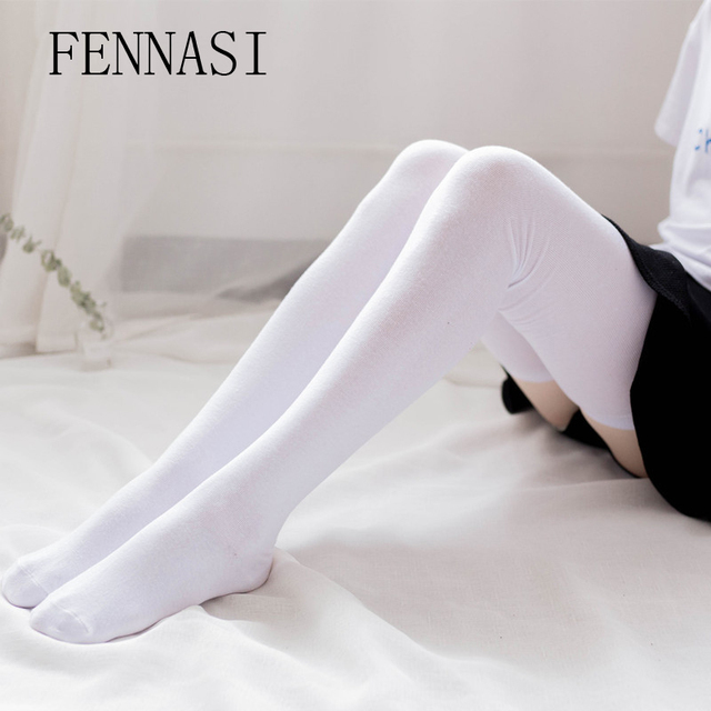 bbb4af7ff81 FENNASI Women s Thick White Black Stockings Sexy Thigh High Socks Over Knee  Kawaii Stockings Female Cotton Knee High Socks