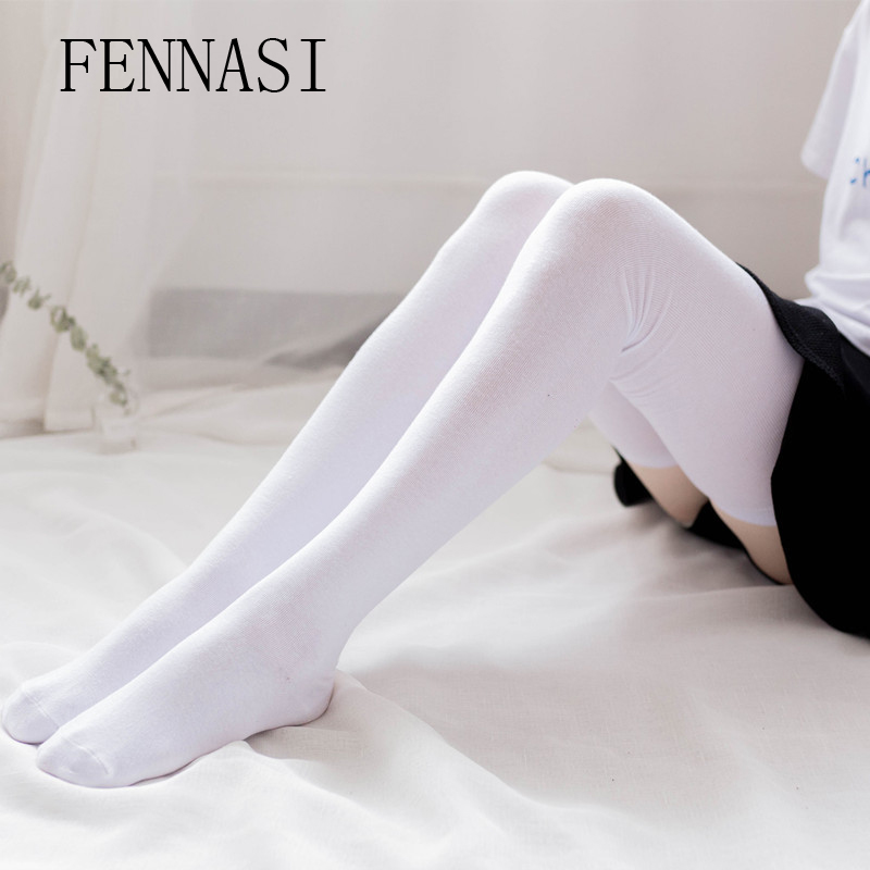 FENNASI de las mujeres de blanco negro medias Sexy muslo alta calcetines sobre la rodilla Kawaii medias de algodón femenino de la rodilla alta Calcetines