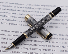 Jinhao 5000 Vintage Luxurious Metal Fountain Pen Beautiful Dragon Texture Carving, Gray Color Ink Pen for Office Business