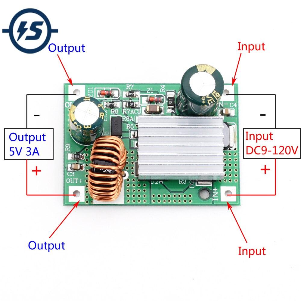 DC Step Down Modul 9V 12V 24V 36V 48V 72V 84V 120V zu 5V 3A Power Supply Buck Converter Nicht isoliert Stabilisator Bord