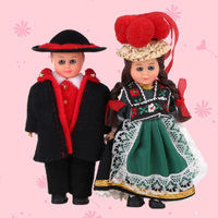 4inch Ethnic Doll 2pcs A Set Kids Toy Mini Ethnic Clothes Doll France Couple Girl Boy