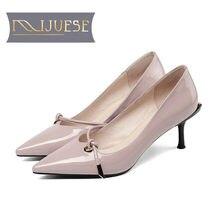 89d5c094 MLJUESE 2019 mujeres bombas otoño Primavera de cuero de color rosa Roma  estilo slip en fino tacón Zapatos de tacón alto zapatos .