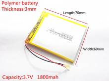 3.7V 1800mAh Lithium Polymer LiPo Rechargeable Battery cells power For PAD GPS PSP Vedio Game E-Book Tablet PC Power Bank 306070