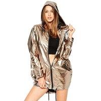 Phụ nữ Phong Cách Đường Phố Thời Trang Joker Túi Nghiêng Bomber Jacket HemTether Vàng Dây Kéo Trùm Đầu Jacket Casual Outwear
