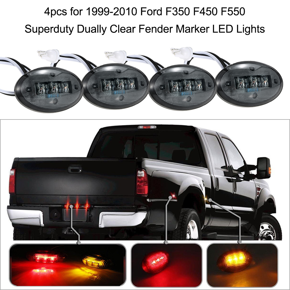 small resolution of kkmoon 4pcs for 1999 2010 ford f350 f450 f550 superduty dually clear fender marker led lights car lights in signal lamp from automobiles motorcycles on