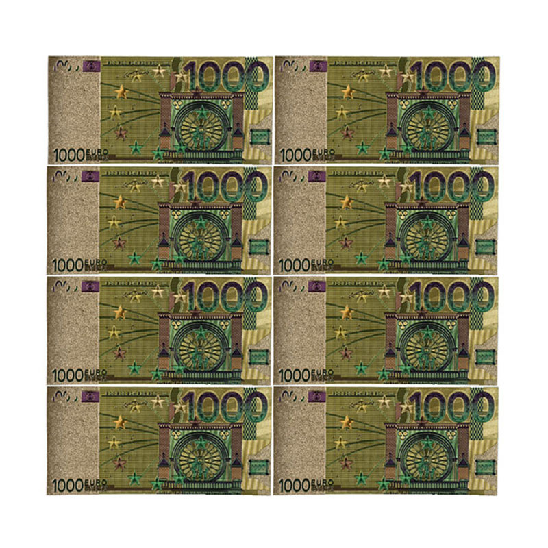 Color <font><b>Euro</b></font> <font><b>Banknotes</b></font> 10pcs/lot <font><b>1000</b></font> EUR Gold Foil <font><b>Banknote</b></font> for Collection and Gifts EU Money Exquisite Craft image