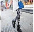 10 шт. европейский стиль в полоску звезды узор леггинсы мягкий простирание приталенный брюки черный / розовый осень и зима