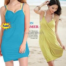 2014 Новый Сексуальный Летом Пляж Платье Сокрытия Для Женщин Deep Sweatheart декольте Купальники Бикини Платья 8 Цвета