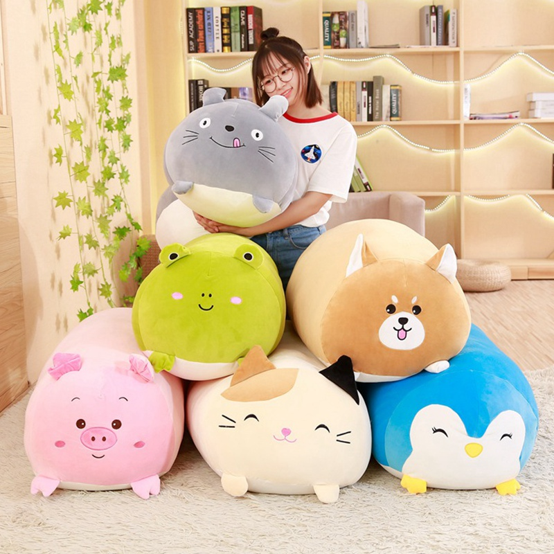 New Cute Fat Dog Cat Totoro Penguin Pig Frog Plush Toy Stuffed Soft Animal Cartoon Pillow Lovely Christmas kids present