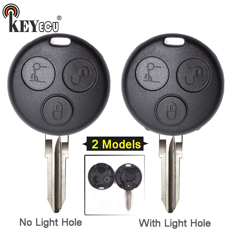 KEYECU 1x/ 2x for Mercedes Benz <font><b>Smart</b></font> Fortwo <font><b>450</b></font> Forfour 451 Roadstar Replacement 3 Button <font><b>Key</b></font> Shell Case No/ With Light Hole image