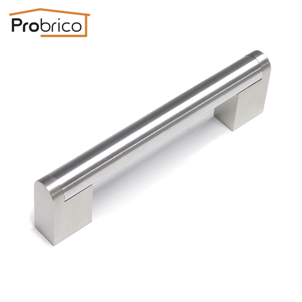 Probrico Boss Bar Stainless Steel Diameter 14mm Hole Spacing 96mm Kitchen Cabinet Door Furniture Drawer Handle Pull PD214HSZ96 2pcs set stainless steel 90 degree self closing cabinet closet door hinges home roomfurniture hardware accessories supply