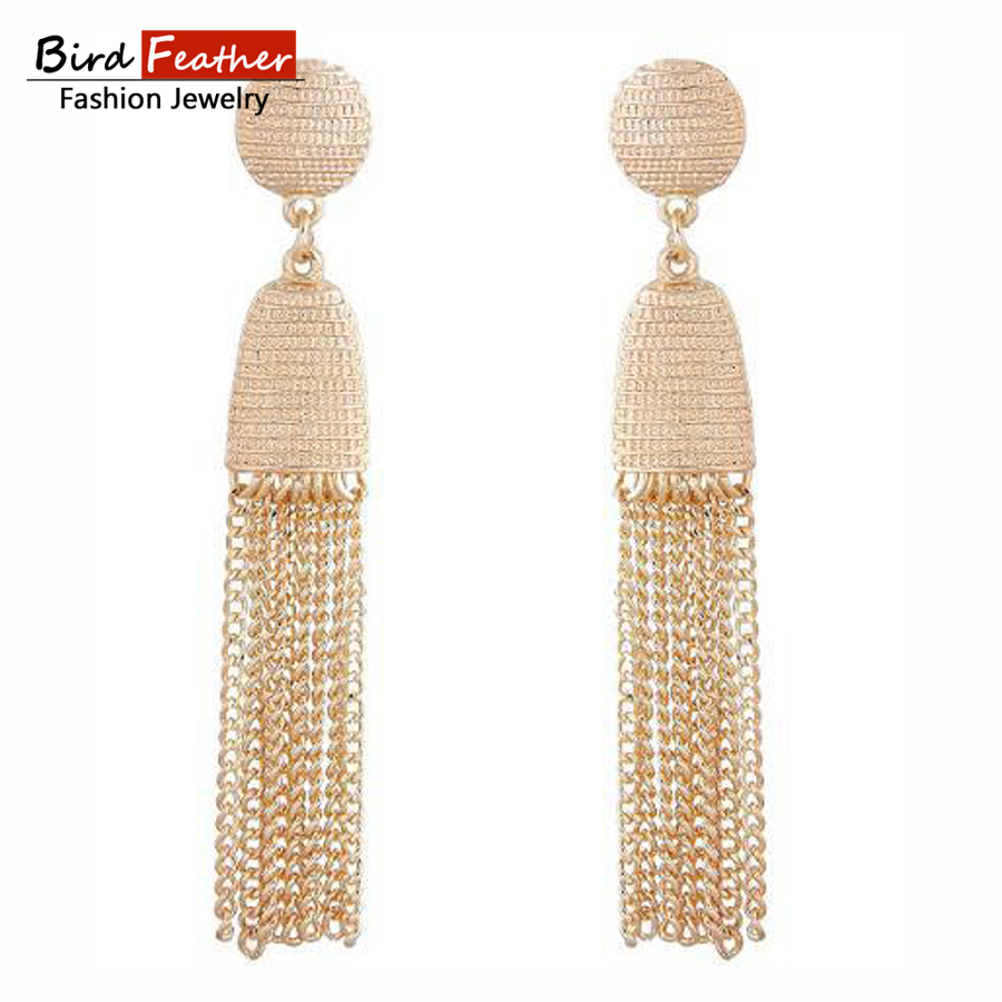 Gold color Statement tassel Earrings for Women Vintage Exquisite Round Long Drop Earrings Wedding Party Bridal Jewelry Gift