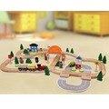 78 шт. Ручной Деревянный Поезд Набор Трехместный Loop Железнодорожного Пути Детские Игрушки Игровой Набор