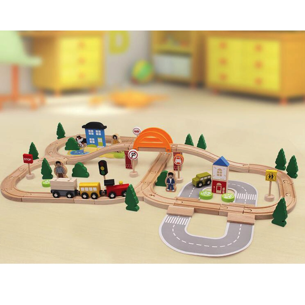 78pcs Hand Crafted Wooden Train Set Triple Loop Railway Track Kids Toy Play Set 78pcs hand crafted wooden train set triple loop railway track kids toy play set