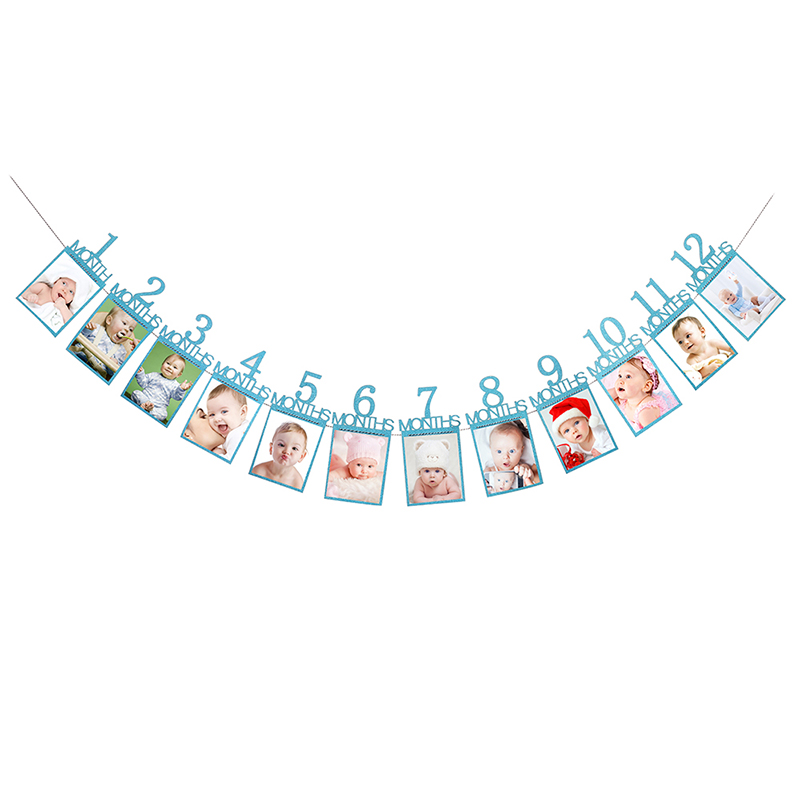 12 Months Photo Frame Banner First Happy Birthday Decorations 1st Baby Boy Girl My 1 One Year Party Supplies Gold Pink Silver in Banners Streamers Confetti from Home Garden