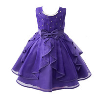 Fashion Kid Girls Birthday Commuion Dresses Children Party Ball Gown Princess Bridesmaid Floral Tutu Dress Bowknot