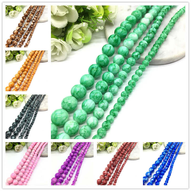 6 8 10 12mm Glass Bead Round Beads Jewelry Making Accessories Bracelets Nacklace DIY