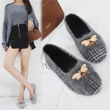 Chowaring New Women Flats Brand Autumn Winter Round Toe Woman Single Shoes Metal Bee Plaid Warm fur Ballet Flats Casual Loafers