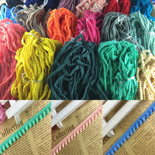 2 yards lot 1.2cm Pom Pom Trim Ball Fringe Ribbon DIY Sewing Accessory Lace 9897e6a2dcf2
