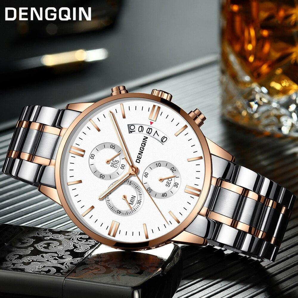 DENGQIN Relogio Masculino Männer Uhren Luxus Berühmte Top Marke Herrenmode Casual Kleid Uhr Military Quarz Armbanduhren Saat