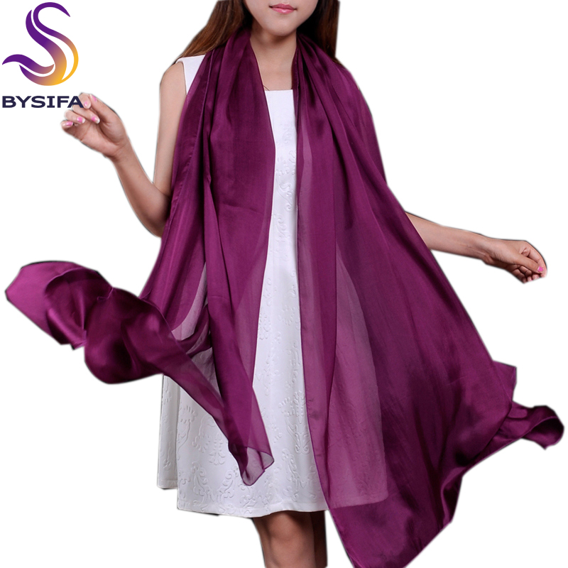 [BYSIFA] Long Design Large Scarf Cape Fashion Natural Silk Long Scarves Printed Spring Autumn Thermal Purple Silk Scarf Shawl