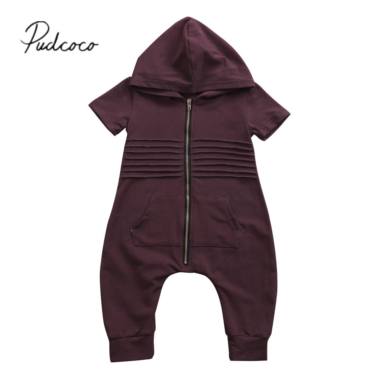 Pudcoco Повседневное одежда для малышей Обувь для мальчиков на молнии с капюшоном комбинезон комбинезон, костюм костюмы Одежда 0-24 м