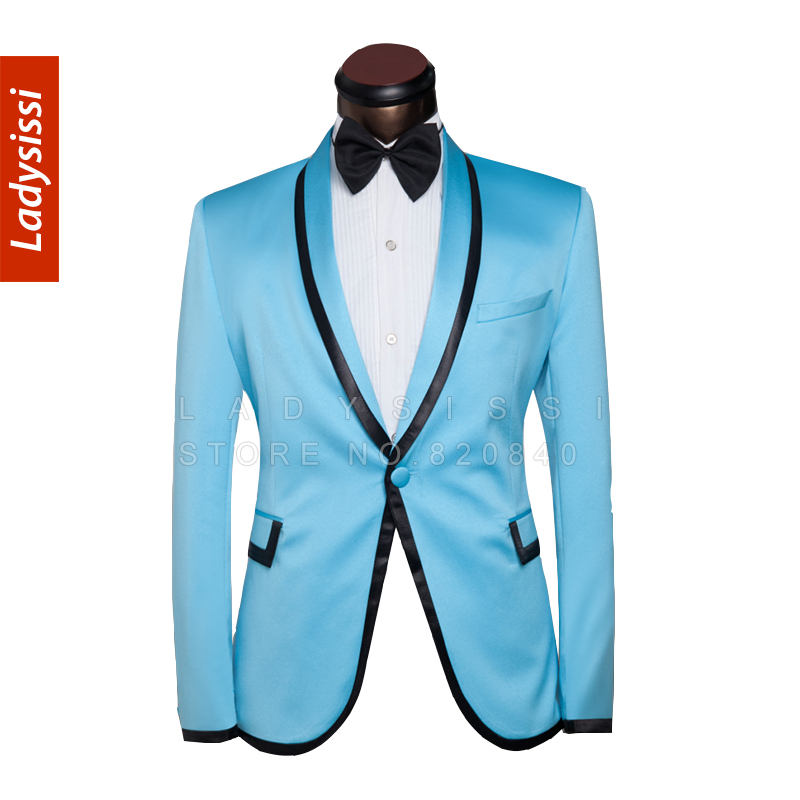 2015 mens suits with pants Prom slim fit Suit Tuxedo Blue Green ...
