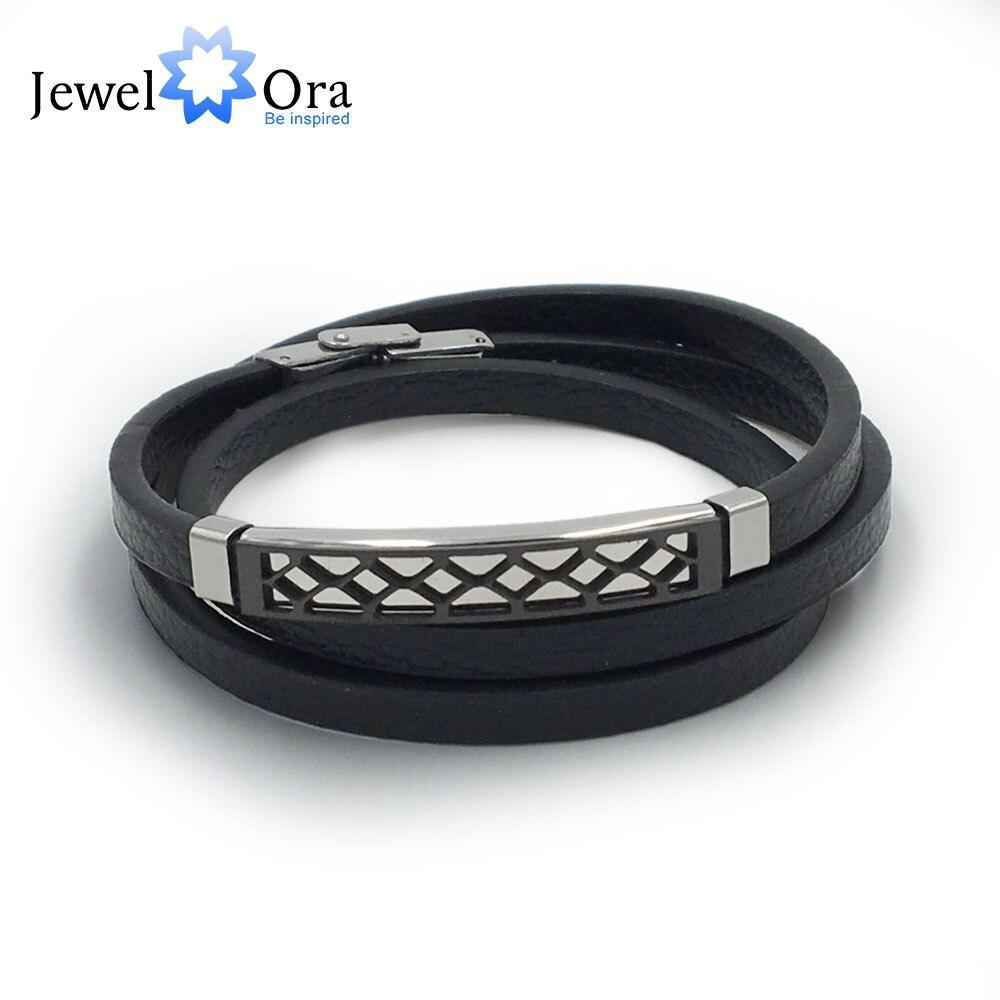 Leather Bracelet Double...