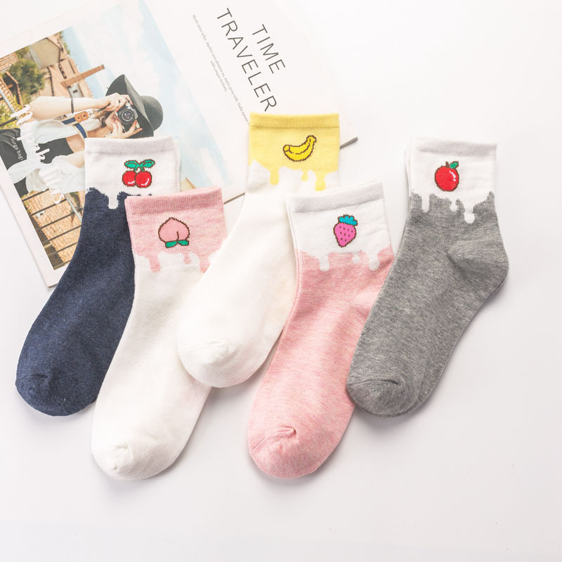 HUI GUAN Preppy Chic Fruit Patterned Cute   Socks   Women Original Casual   Socks   Candy Color Cotton Funny Style Elastic Art   Socks
