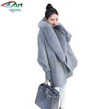 JQNZHNL Casulo de Lã Casaco de Caxemira Das Mulheres 2017 Novo Inverno de Manga Comprida Casacos De Lã Coats Fox Fur Collar Soltas Casual E218