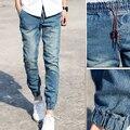 Nueva Desige Lazo Para Hombre Joggers Pantalón Estilo de Mezclilla Mediados de Cintura Pantalones de los hombres Basculador Luz Azul Oscuro Pantalones Más El Tamaño S-3XL venta