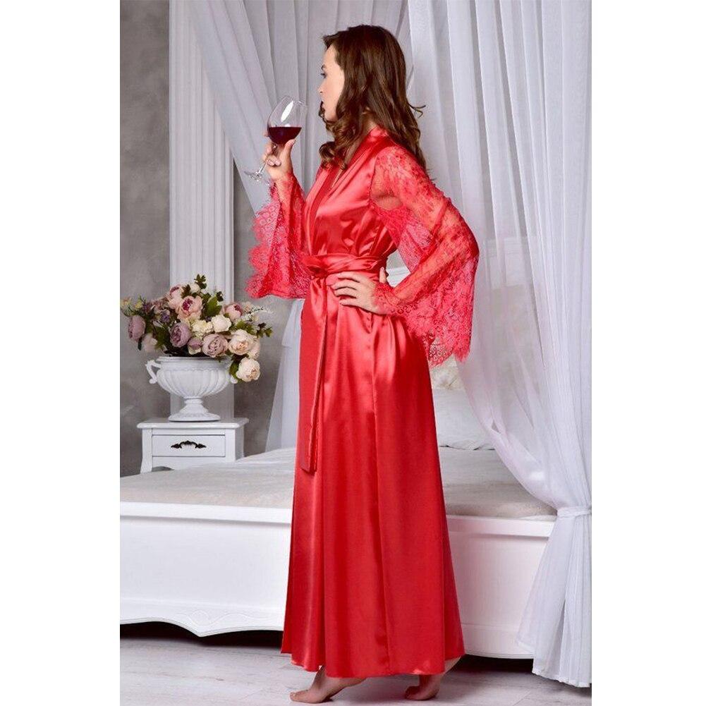 HTB1NRgycv1H3KVjSZFBq6zSMXXas 4 Colors Womens Solid Silk Satin Robe Sexy Lace Nightgown Pajamas Sleepwear Kimono Babydoll Dress XL