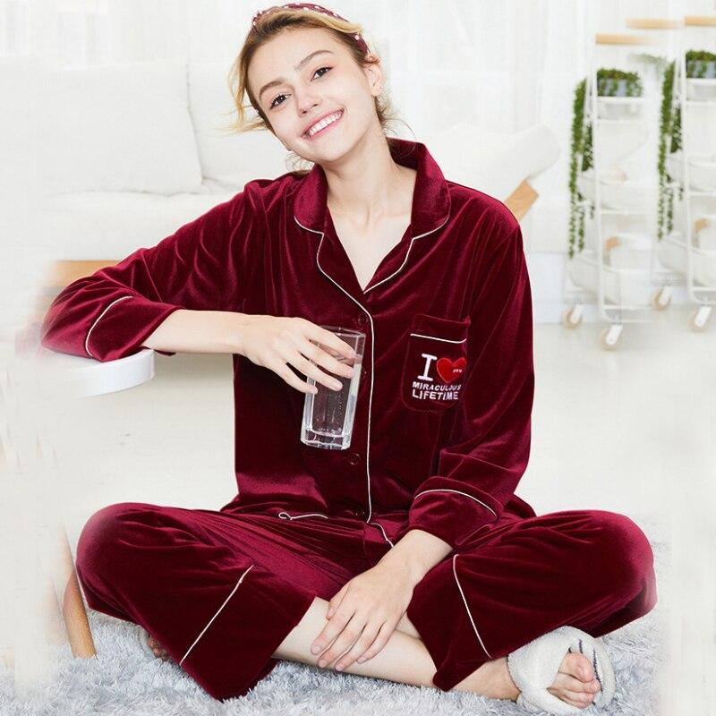 SSH0300 Pajamas Women 2pcs Velvet Female Pyjama Set Autumn Winter Ladies  Sleepwear Full Sleeve Long