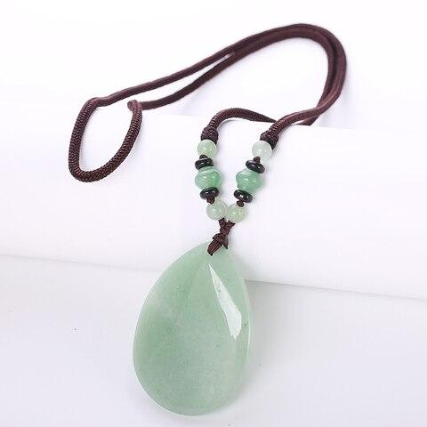 Gota de Água Colares para Mulheres Miçangas de Jóias Natural Pedra Quartzo Cristal Pingente Aventurine Jade Corrente Longa Aniversário Mulheres
