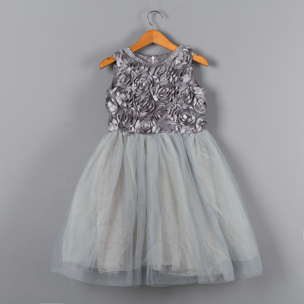 Children Silver Flower Pattern Girl Dresses Free Shipping 2017 Girls Toddler Fashion Sleeveless Girls Grey Dress Kids Clothes