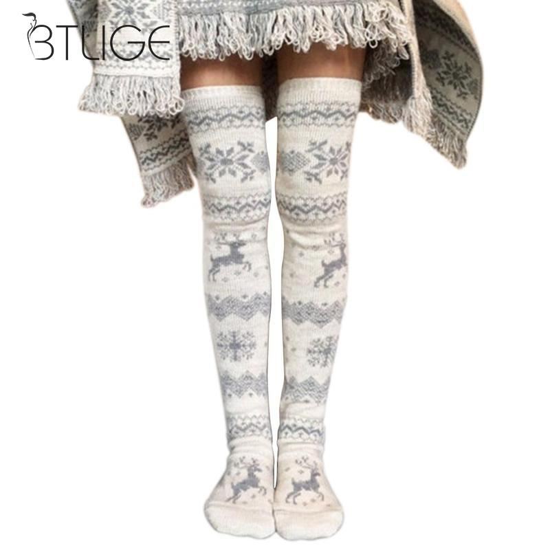 Christmas Elk Women Winter Thicken Warm Cotton Stockings Thigh High Over The Knee Socks For Female Long Sock Xmax Random Color