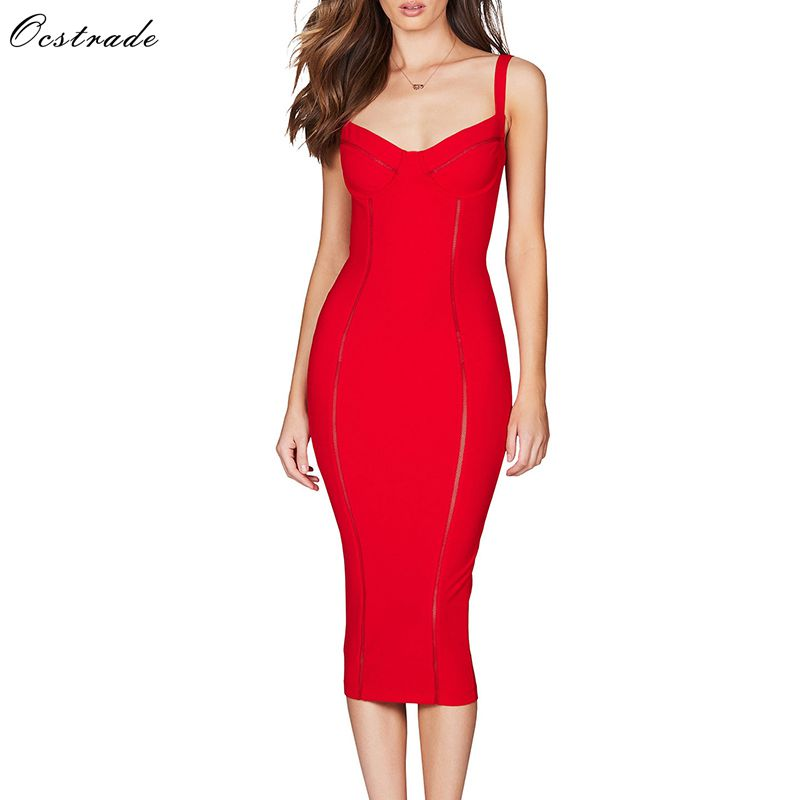 Ocstrade 2019 New Summer Spaghetti Strap Bodycon Dress Midi Rayon Bandage Dress Red Sexy Mesh Night