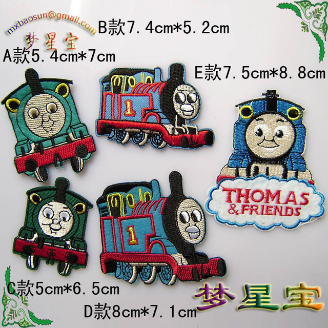 Free shipping 5 pcs/lot cartoon Thomas & Friends locomotive fabric sticker/cotton clothes paste/DIY patches 4 styles wholesale