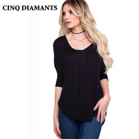 CINQ DIAMANTS 2017 New Summer Women T Shirt Deep V Neck Three Quarter Sleeve Loose Women T-shirt Black Tee Tops Female