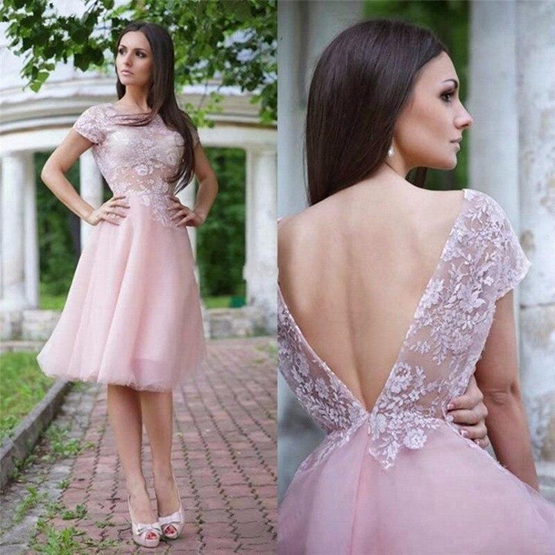 On Sale Short Sleeve   Prom     Dresses   2018 A-Line Tulle Evening   Dress   for Graduation Lace Appliques Gown robe de soiree ZZ987