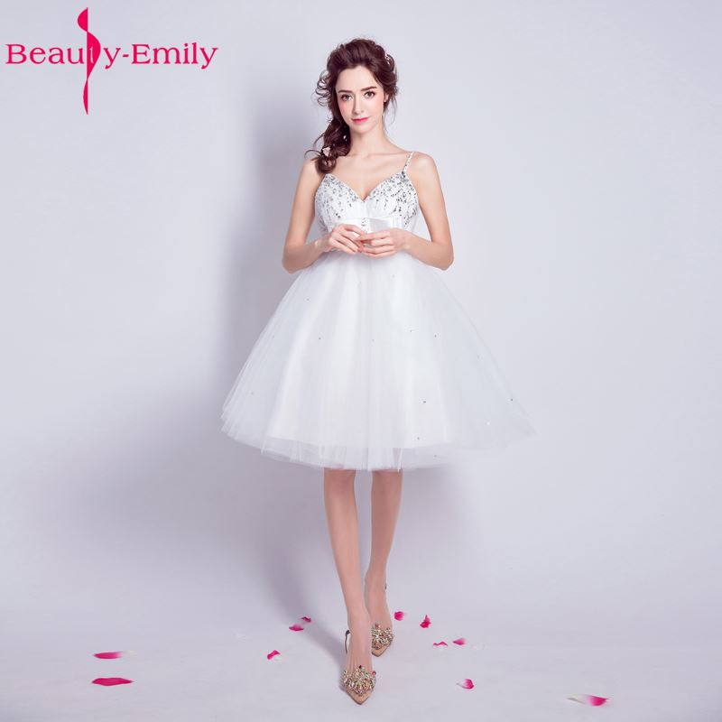 Beauty Emily White Long Cheap Short Beads Wedding Dresses 2017 Ball Gown New Style Weddi ...