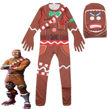 Big escape child role-playing jumpsuit boy gingerbread man costume girl Halloween teenager funny 6-14 years old