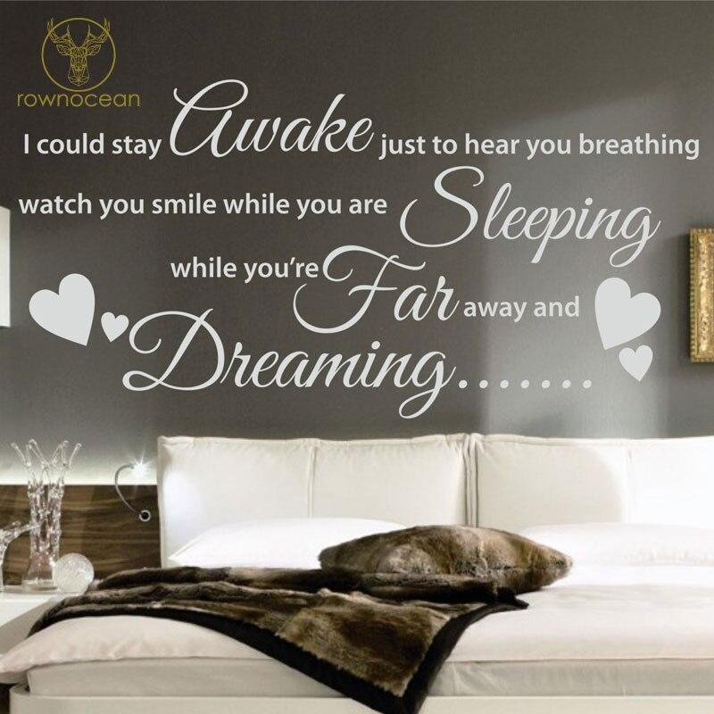 Awake Sleeping Far Dreaming Art Home Decor Quote Plane Wall Sticker Decal Bedroom Romance Words Adhesive Lyrics Vinyl Mural 3Q09