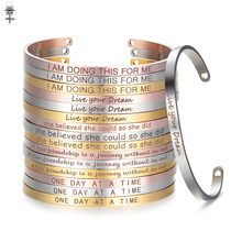 Rose Gold Custom Laser Engraved Positive Inspirational Quote Bangles Cuff Mantra Bracelets Anniversary Gifts for women SL-009(China)