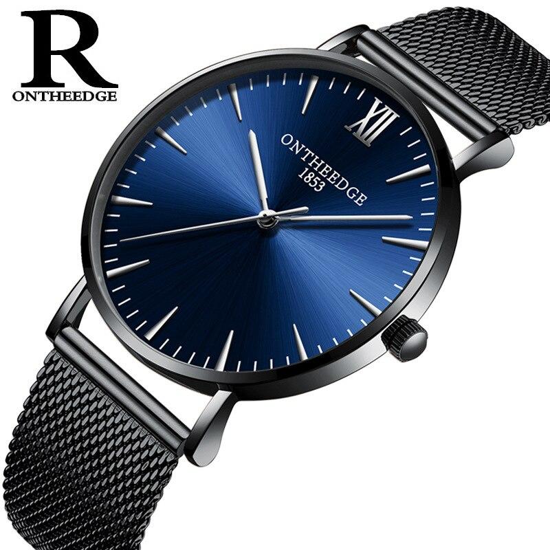 Luxe mens watch top marque mince 6mm quartz maille en acier inoxydable hommes montres casual étanche ONTHEEDGE homme montre-bracelet RZY019