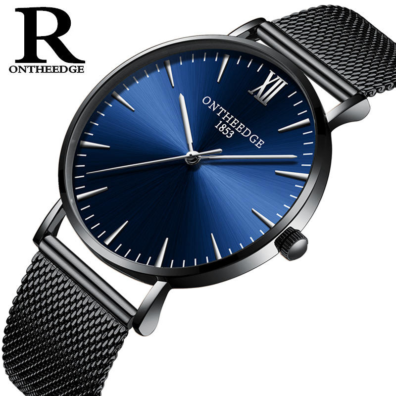 luxury mens watch top brand thin 6mm quartz mesh stainless steel men watches casual waterproof ONTHEEDGE man wristwatch RZY019 exclamation point свитер