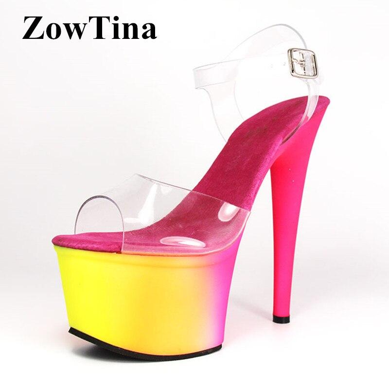 Women Gradient Color Platform Sandals Gladiator Ankle Strap 17cm High Heels Summer Shoes Woman Open Toe Transparent Sandalias