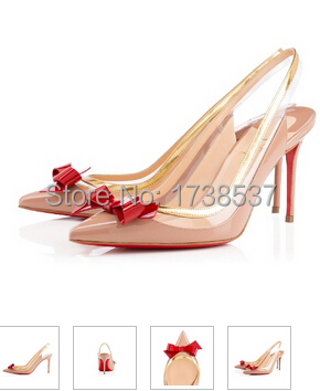 more photos 689a0 4614f US $75.89 |Original brand sexy Red bottom sling high heels pointed toe bow  slingback Patent Leather women wedding party shoes 35 42-in Women's Pumps  ...