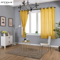 XYZLS Geometric Yellow Curtains Cotton Linen Window Curtains for Living Room Bedroom Modern Drapes 1PC